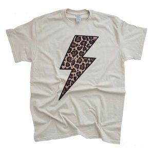 Bella Canvas printed leopard lightning bolt tee